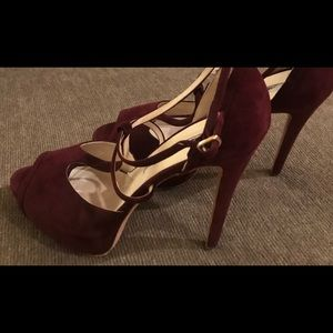 Brian Atwood Burgundy Suede Heels Sz 10 1/2